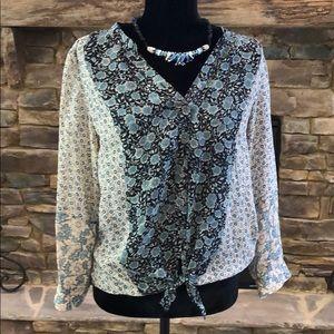 JOIE Blue Floral Tie Front 100% Silk Blouse Sz XS